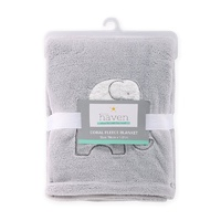 Little Haven Coral Fleece Blanket W/Applique-Grey