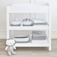 Living Textiles Cotton Rope 3pc Nursery Storage set White/Grey