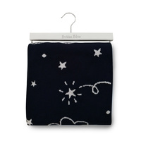 Bubba Blue Navy Wish Upon A Star Cotton Knit Baby Blanket