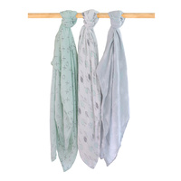 Bubba Blue Bamboo 3 PK Muslin Wraps Mint Meadow