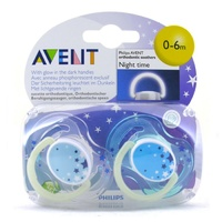 Avent Night Time Soothers 0-6 months (2 Pack) Assorted