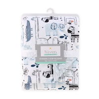 Little Haven Velour Pram Blanket Safari Blue