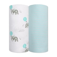 Living Textiles 2-pack Jersey Wrap(100 x 100cm) Dream Big/Aqua Stripe