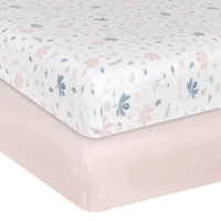 Living Textiles 2-pack Muslin Cot Fitted Sheet Botanical/Blush