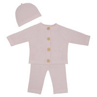 Living Textiles 3pc Cotton Knit Cardigan, Pant and Beanie Set Blush Pink 3-6m