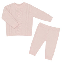 Living Textiles 2pc Cable Knit Sweater and Pant Set Blush Pink 3-6m