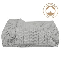 Living Textiles Organic Cotton Bassinet/Cradle Cellular Baby Blanket Grey