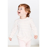Boody Baby Organic Bamboo Long Sleeve Top - Chalk/Rose Stripe 3-6 Months