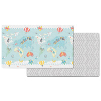 Skip Hop Doubleplay Reversible Kids Play mat Little Travelers/Herringbone